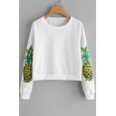 Fashion Pineapple Print Long Sleeve Round Neck Pullover Sweatshirt