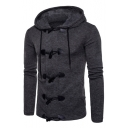 Winter's Fashion Long Sleeves Single Breasted Hooded Plain Coat with Horn Buttons
