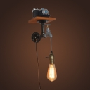 Industrial Wall Sconce with Valve in Pipe Style, Bronze