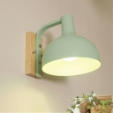 Industrial Wall Sconce with Bowl Metal Shade in Nordical Style, White/Green