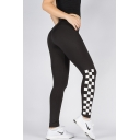 New Stylish Plaid Print Elastic Waist Skinny Leggings