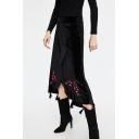 Chic Embroidery Floral Pattern Velvet Asymmetric Skirt
