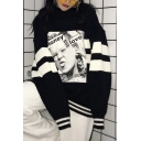 Cool Unisex Girl Portrait Pattern Long Sleeves High Neck Striped Over-Sized Monochrome Pullover Sweater