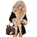 Warm Faux Fur Trimmed Over-Sized Hooded Quilted Longline Coat