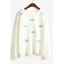 Stylish Cloud Print Long Sleeve Round Neck Pullover Sweater