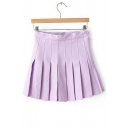 New Trendy Simple Plain Mini A-Line Pleated Skirt