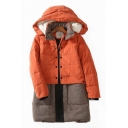 Trendy Long Sleeves Color Block Patchwork Faux Fur Padded Hooded Zippered Quilted Coat