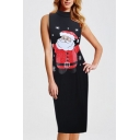 Hot Fashion Santa Claus Print Mock Neck Midi Tank Pencil Dress