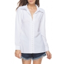 Fashion Simple Plain Button Down Long Sleeve Lapel Shirt