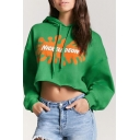 Color Block Letter Print Long Sleeve Cropped Hoodie