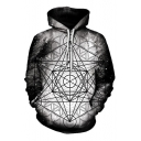 Trendy Stars Kaleidoscope Geometric Pattern Long Sleeves Pullover Hoodie with Pocket