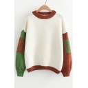 Color Block Cartoon Bear Print Long Sleeve Round Neck Pullover Sweater
