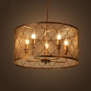 Industrial 5 Light Chandelier with Cylinder Metal Mesh in Vintage Style
