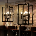 Industrial Pipe Chandelier with Metal Frame in Black, 5 Light
