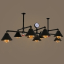 Industrial Vintage Large Chandelier with Metal Shade in Black Finish, 9 Light