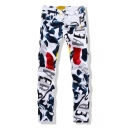 New Trendy Fashion Leisure Letter Print Zip Fly Skinny Jeans