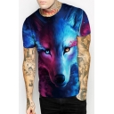 Trendy Color Block 3D Wolf Printed Short Sleeves Casual Summer Tee