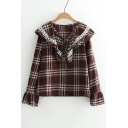 Fashionable Tartan Plaids Over-Sized Ruffly Bow Lapel Lace Insert Bell Sleeves Loose Blouse