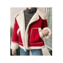Winter Collection Notched Lapel Open Front Shearling Fur Padded Long Sleeves Coat with Pockets