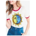 Trendy Sun Moon Sunflower Face Printed Round Neck Contrast Trimmed Short Sleeves Summer Tee