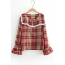 Women's Fashion Lapel Lace Trimmed Bell Sleeves Tartan Plaids Pullover Blouse