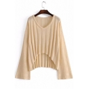 Elegant Long Wide Sleeves V-Neck Dipped Hem Draped Ribbed Knitted Pullover Sweater