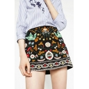 Peasant Ethic Floral Tropical Embroidered Zip-Side Mini A-line Skirt
