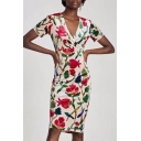 Stylish Floral Pattern V Neck Short Sleeve Wrap Front Midi Bodycon Dress