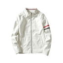 Simple Stand-up Collar Long Sleeve Zip Up Leisure Jacket with Pockets