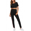 Fashion Color Block Striped Round Neck Short Sleeve Cropped Tee Elastic Waist Pants Sports Co-ords