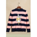 Cute Cartoon Dog Striped Print Round Neck Long Sleeve Pullover Sweater
