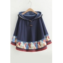 New Arrival Cute Batwing Fish Print Pom Pom Detail Hooded Cape