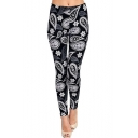 Unique Allover Paisley Pattern Elastic Waist Slim Leg Casual Leggings