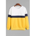 Popular Color Block Round Neck Long Sleeves Pullover Sweatshirt
