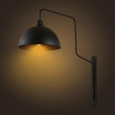 Industrial Wall Sconce with 11.81''W Bowl Metal Shade in Black
