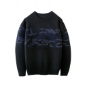 Fashion Color Block Print Long Sleeve Round Neck Pullover Sweater