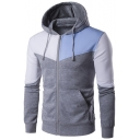 Sportive Color Block Long Sleeves Zippered Hoodie with Pockets