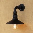 Industrial Wall Sconce with Cone Metal Shade in Pipe Style, Black