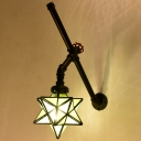 Industrial Wall Sconce with Star Shape Glass Shade in Pipe Style, Black