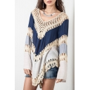 Chic Color Block Print Long Sleeve V-Neck Hollow Out Cover Up