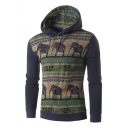 Ethic Elephant Pattern Color Block Long Sleeves Pullover Hoodie with Drawstring