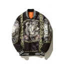 Cool Lion Geometric Pattern Striped Trimmed Long Sleeves Zippered Bomber Jacket