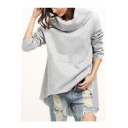 Simple Plain Long Sleeve Turtleneck Asymmetric Hem Pullover Sweatshirt
