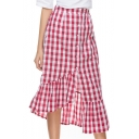 Classic Plaid Button Down Ruffle Hem Asymmetric Skirt