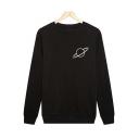 Simple Planet Printed Round Neck Long Sleeves Pullover Sweatshirt