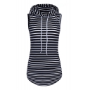 New Fashion Striped Sleeveless Hoodie Mini Dress