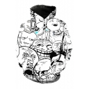 Funny Faces Meme Printed Long Sleeves Pullover Hoodie with Pocket