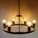 Industrial Vintage 6 Light Chandelier 24.4''W in Open Bulb Style, Black