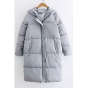 Fashion Simple Plain Hooded Zip Up Long Sleeve Padded Coat