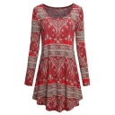 New Arrival Tribal Print Round Neck Long Sleeve Swing Mini Dress
